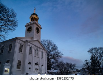 New England White Church at Twilight with Steeple