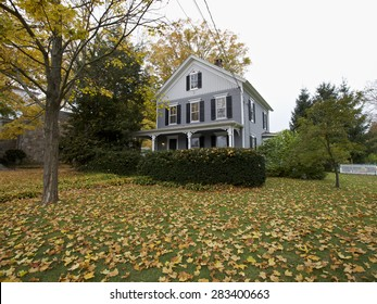 New England wooden house in Fall, Connecticut, USA