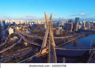 New. Estaiada's bridge aerial view. São Paulo, Brazil. Business center. Financial Center. City landscape. Cable-stayed bridge of Sao Paulo. Downtown. City view. Aerial landscape. City life. Bridge.