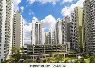 A new estate with neighborhood facities carpark at the center- Singapore