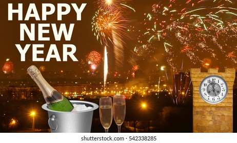 New Yearâ??s Eve celebration, background with fireworks, pair of flutes, a bottle of champagne in a bucket and clock tower
