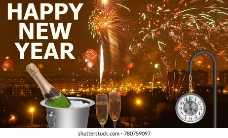 New Year's Eve celebration, background with fireworks, pair of flutes, a bottle of champagne in a bucket and clock
