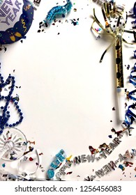New year's eve party items on a white background with copy space