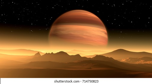 New Exoplanet or Extrasolar gas giant planet similar to Jupiter with moon. 3D illustration