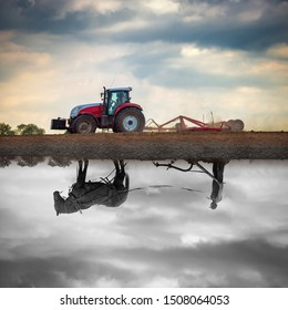 New farmer tractor plow land in cloudy background and old horse farmer plow land black-white reflection in cloudy background - Image