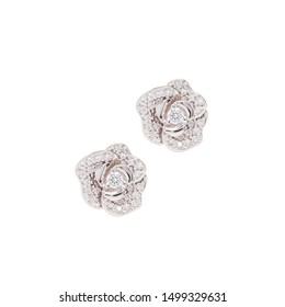 New fashion earrings with diamonds and gemstones isolated on white background pictures for advertising and online shop