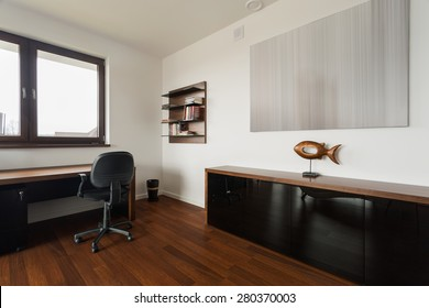 New fashionable study room with wooden floor