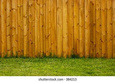 New fence in the backyard in landscape format