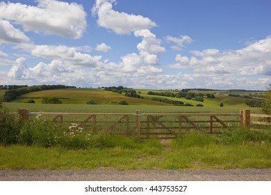 a new fence and gate in front of a scenic agricultural landscape in the yorkshire wolds under a blue cloudy sky in summer