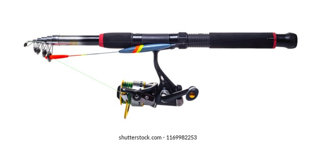 new fishing rod on white isolated background