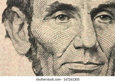 new five-dollar bill closeup