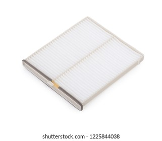 New flat engine air filter in a plastic case isolated on white background