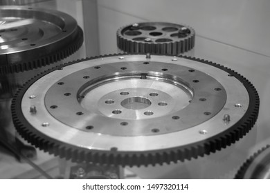 New flywheels with ring gear, automotive engine detail