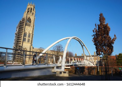 New footbridge with the Boston stump in the background on a sunny day. BOSTON,  Lincolnshire UK - December ‎04, ‎2019
