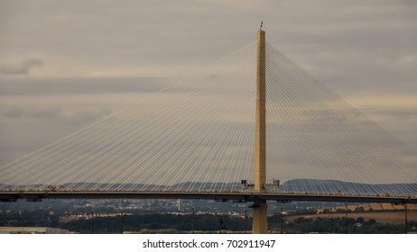 The new Forth road bridge, The Queensferry Crossing showing the supporting cables