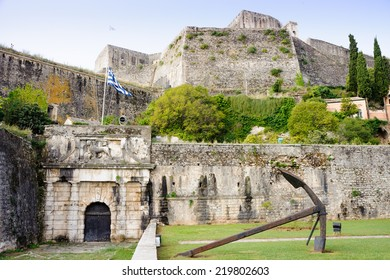 New fortress in Corfu Town, built in the sixteenth century, showing Venetian fortification, the Venetian winged lion (symbol of Venice), Greek flag and anchor.