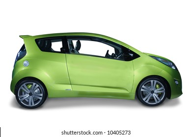 New fuel efficient hybrid car design. The future of the industry. Isolated on a white background with a shadow detail drawn in. A pen tool clipping path is included for the car, minus the shadow.