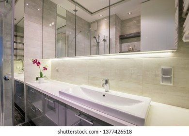 New furnished apartment. Spacious bathroom with large mirrors. New design of house.
