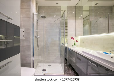 New furnished apartment. Spacious bathroom with large mirrors. New design.