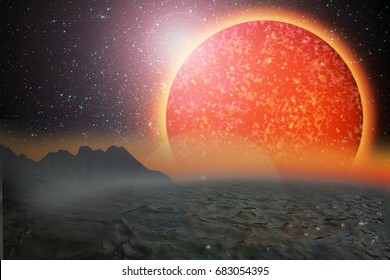 new galaxy, planetary systems  , start surface the exoplanet , sun like, mixed media illustration. A new planet-hunting survey concept.