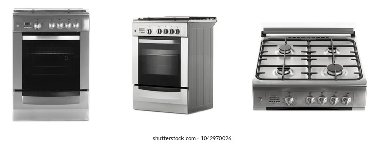 New gas stove isolated on a white background