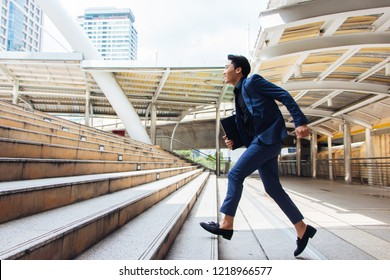 New gen young businessmen are stepping up their stairs to get in business with confidence in Bangkok, Thailand.