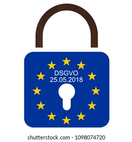 EU´s new General Data Protection Regulation. European flag with text DSGVO and 25.05.2018