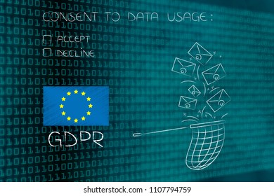 new general data protection regulation conceptual illustration: GDPR text and europe flag next to butterfly net collecting emails and conset to data usage question above