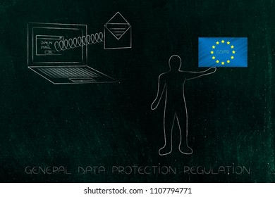 new general data protection regulation conceptual illustration: laptop with email popping out of the screen next to man holding up GDPR text on europe flag