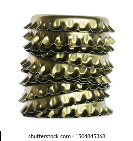 New golden bottle cap for beer isolated on white, side view, macro