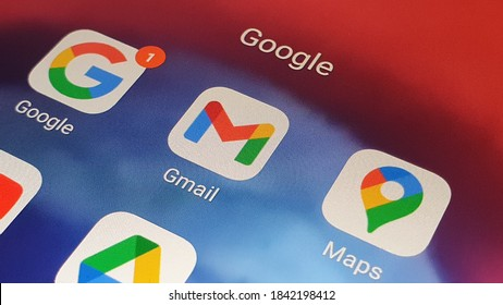 New google Gmail app icon on phone/desktop with google notification in Naples Italy October 2020