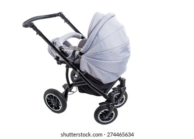 New gray modern pram. Side view. Isolated on a white background.