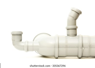 New gray plastic pipe on a white background