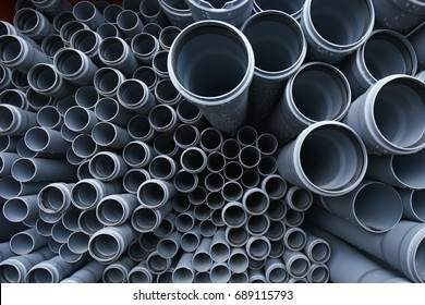 New gray plastic pipes for the sewage system