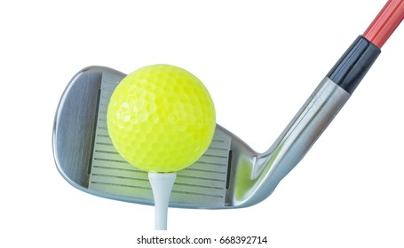 The new green golf ball on tee with driver club on white background, golf concept.