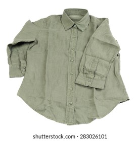 New green linen shirt isolated on white background