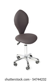 New hairdresser chair isolated on white. Modern design.
