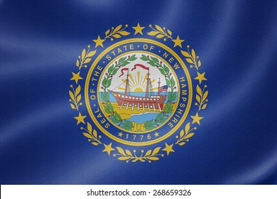 New Hampshire flag on the fabric texture background