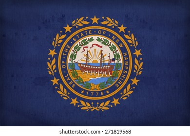 New Hampshire flag on fabric texture,retro vintage style