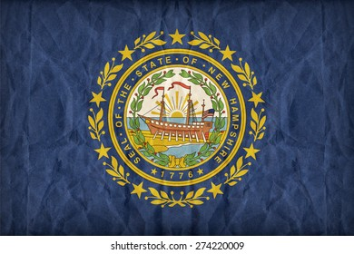 New Hampshire flag on paper texture,retro vintage style