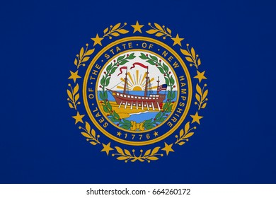 New Hampshire flag, USA with fabric texture