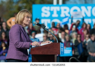 New Hampshire governor Maggie Hassan speaks during a Hillary Clinton rally at St. Anselm College in Manchester, N.H., on Oct. 24, 2016.