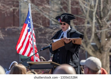 New Hampshire Gun Rights Rally at the Capital House in Concord, NH.  Saturday, March 9, 2019. Speaker Patriostist Pastor Garrett Lear.