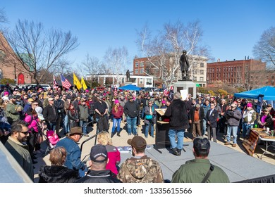 New Hampshire Gun Rights Rally at the Capital House in Concord, NH.  Saturday, March 9, 2019. Speaker view from the back is standing front of the participants.