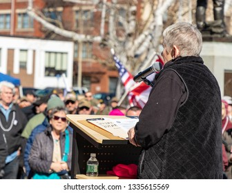 New Hampshire Gun Rights Rally at the Capital House in Concord, NH.  Saturday, March 9, 2019. Close up of the speaker viewed from the back.