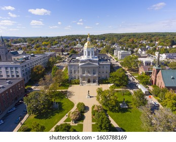 New Hampshire State House aerial view, Concord, New Hampshire NH, USA. New Hampshire State House is the nations oldest state house, built in 1816 - 1819.