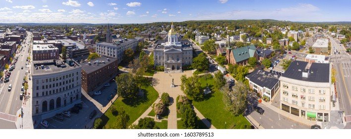 New Hampshire State House aerial view panorama, Concord, New Hampshire NH, USA. New Hampshire State House is the nations oldest state house, built in 1816 - 1819.