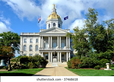 New Hampshire State House Capitol building and visitor center built in greek revival architectural style in the New England NH capital of Concord