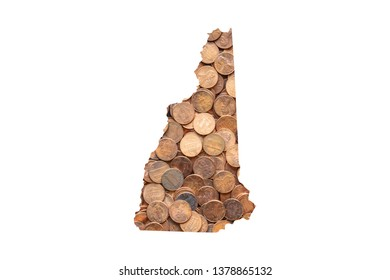 New Hampshire State Map and Money Concept, Piles of Coins, Pennies