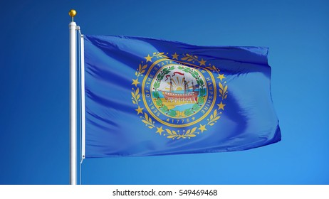 New Hampshire (U.S. state) flag waving against clear blue sky, close up, isolated with clipping path mask alpha channel transparency, perfect for film, news, composition